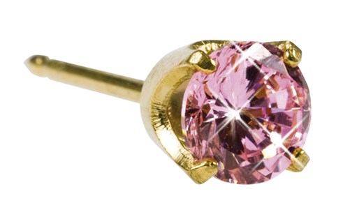 Inverness Pink Ice CZ 5mm gullbelagt, par